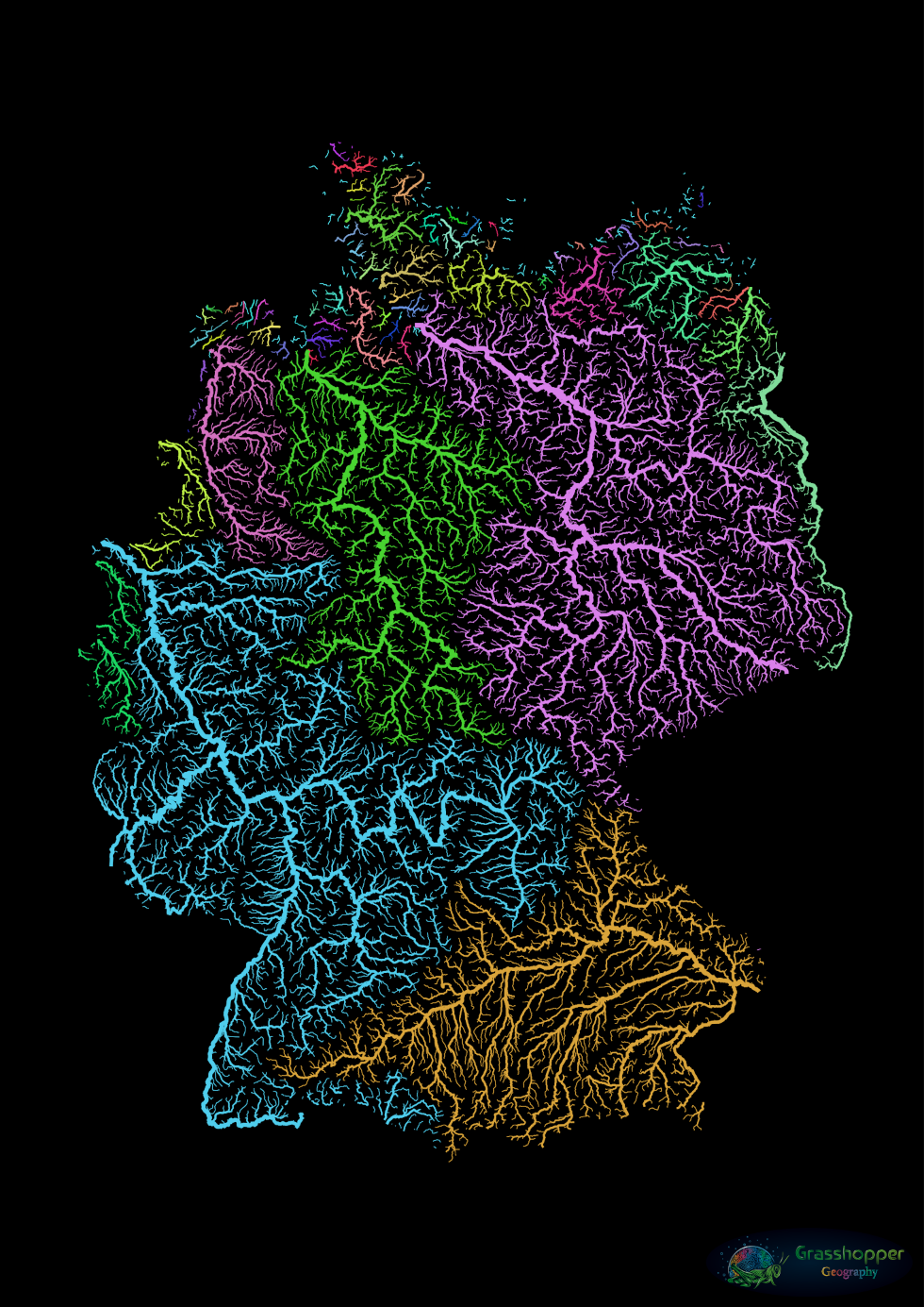 The hydrographic map of Germany is dominated by just four major drainage systems: the Danube (in orange) in the south, the Rhine (in blue) in the west, the Elbe (in purple) in the east and the Weser (in green) between the latter two. In Antiquity, the Rhine was the border between the Roman Empire and the Germans. Rome once attempted to shift the border to the Elbe, which would have radically altered the course of history, but it suffered a massive defeat in 9 CE at the Teutoburger Wald (roughly between both rivers). Image: Grasshopper Geography