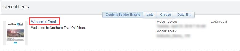 Capture d'écran montrant l'e-mail de bienvenue tel qu'il apparaît dans la liste des éléments récents.