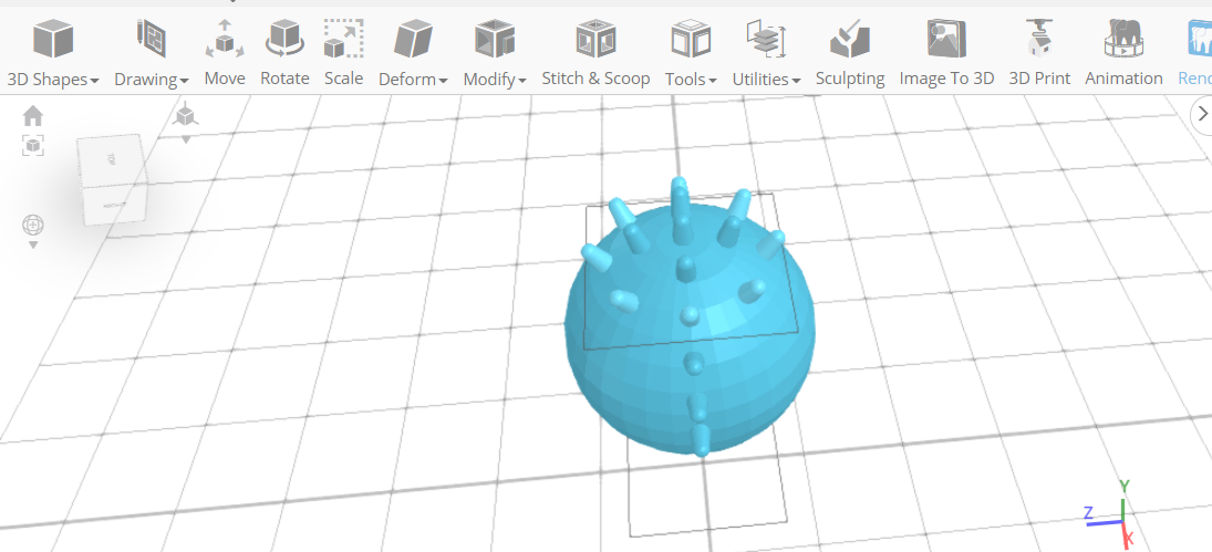 3D designing a Spiky Massage ball