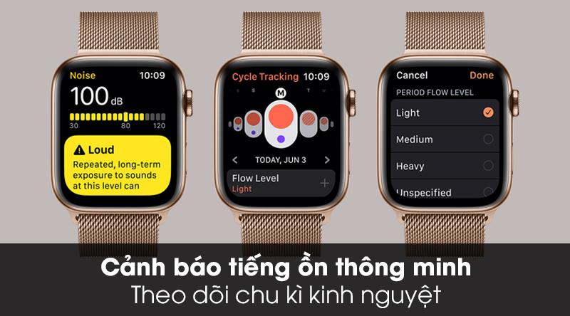 Apple Watch S5 LTE 44mm viền thép dây thép cảnh báo tiếng ồn và theo dõi chu kì cho phụ nữ