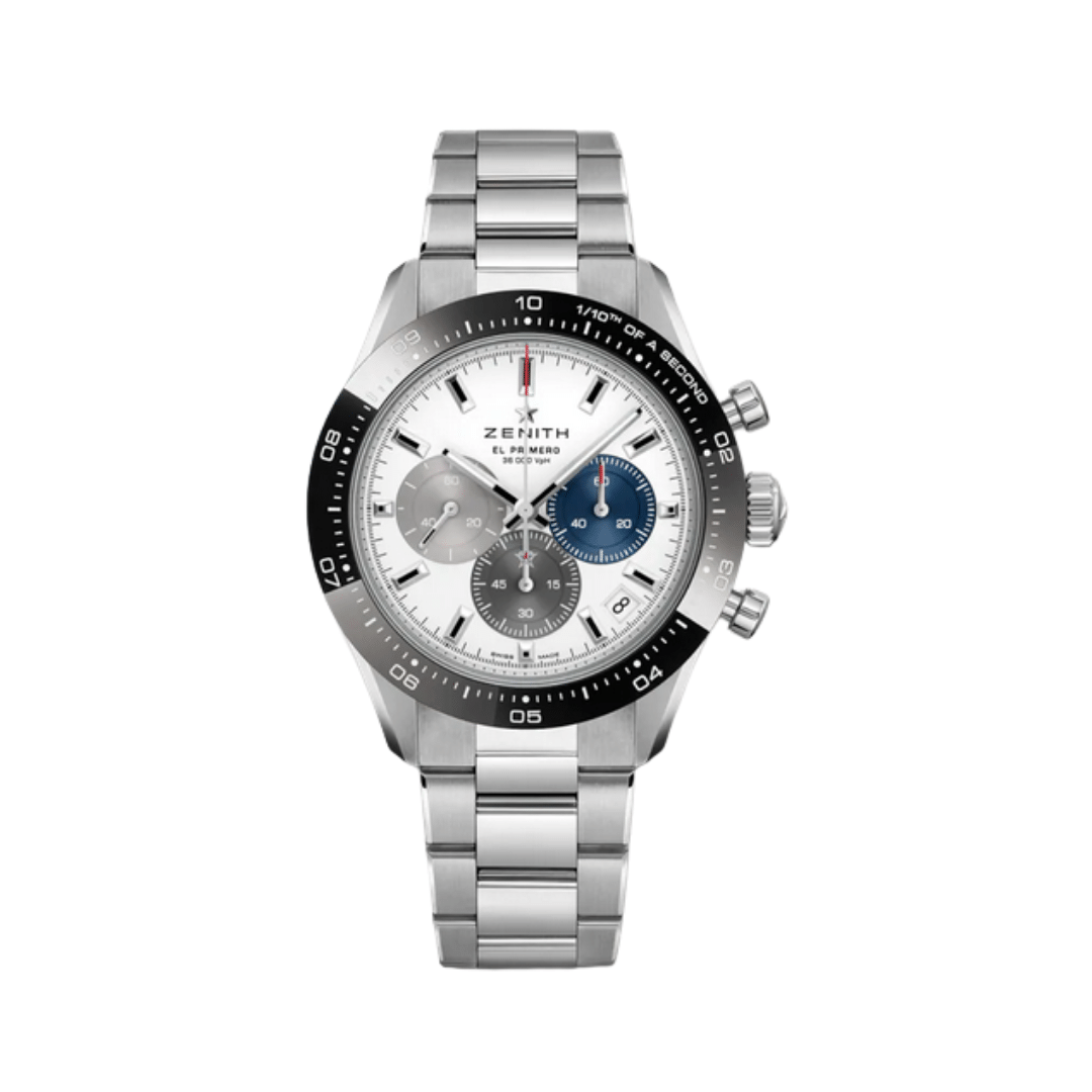Zenith Chronomaster Sport with a black bezel, white dial, with three subdials.