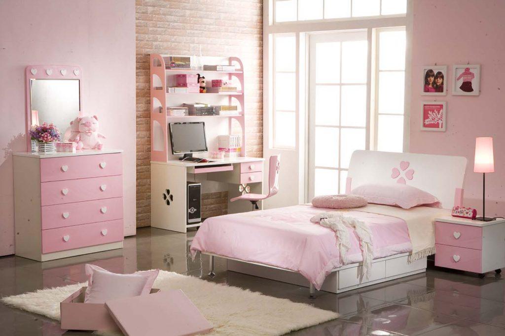 Nội thất phòng ngủ con gái trong bản vẽ thiết kế nhà ống 3 tầng