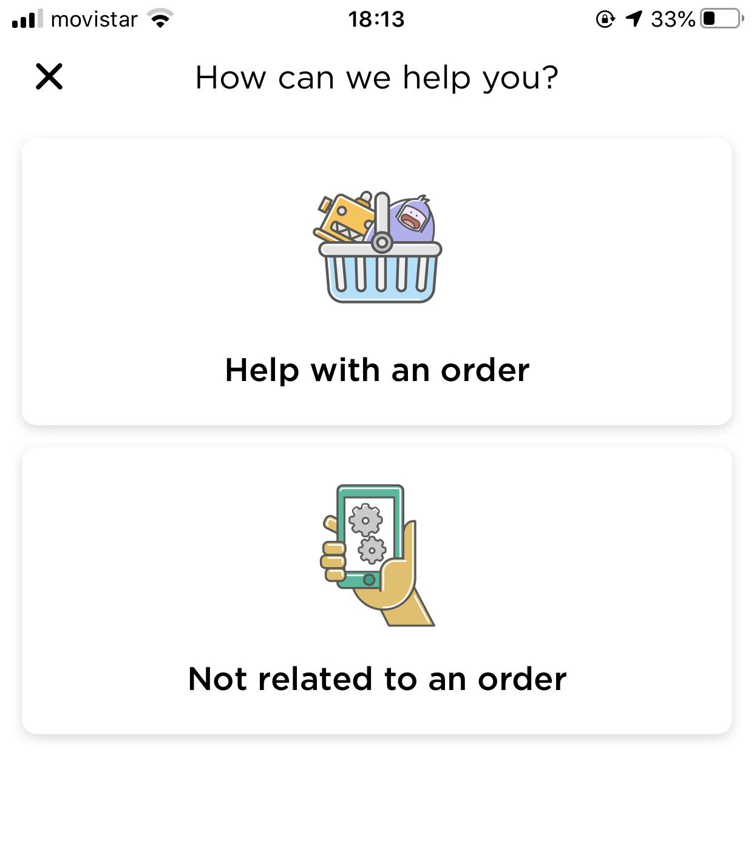 Glovo in-app customer service