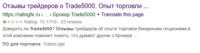 Обзор и отзывы о брокере-мошеннике Trade5000