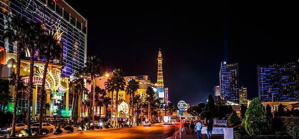 Las Vegas, Night, Lights, Strip, Eiffel Tower, Casino