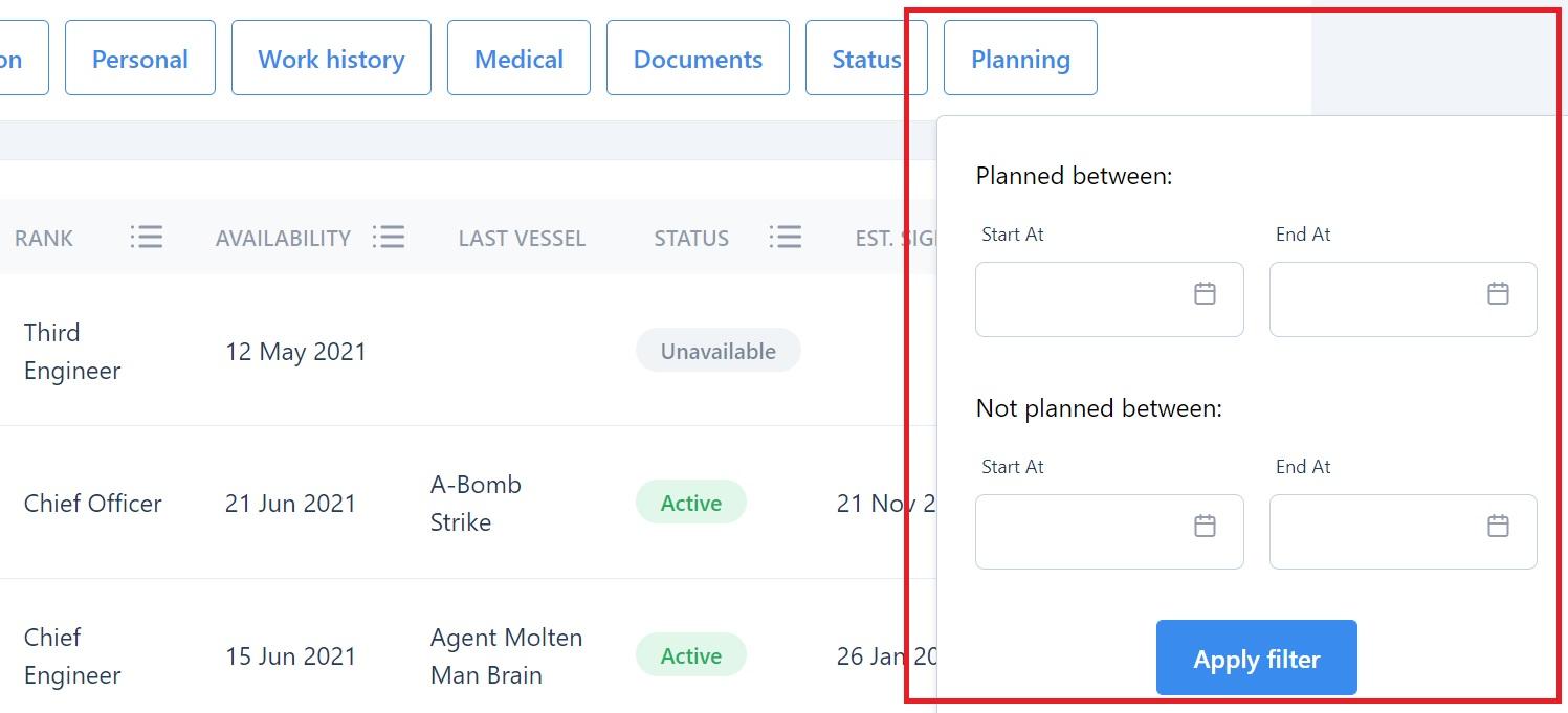 screenshot of Martide maritime recruitment website showing the planning filter.