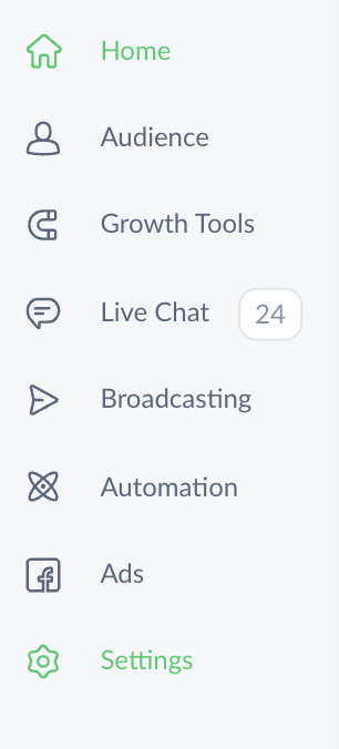 Settings in ManyChat