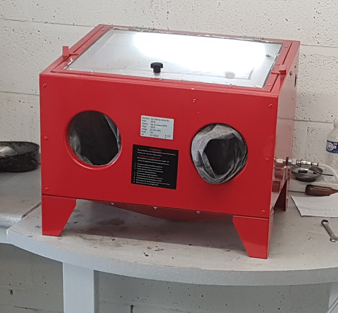 My handy stable top sand blasting cabinet.