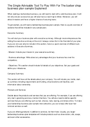 Free business plan template for a barber shop english lit as level coursework