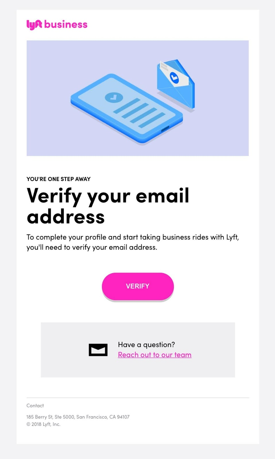 Lyft business email example