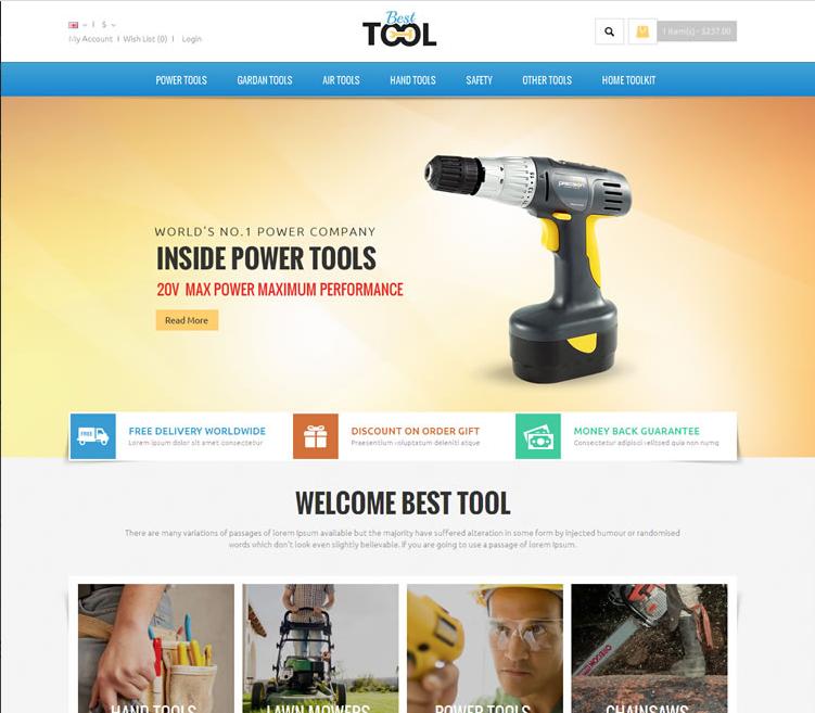auto parts tools opencart theme tools