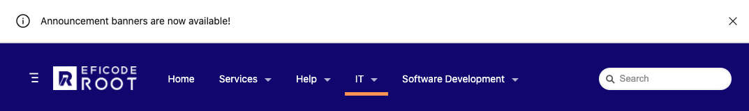 Screenshot of announcement banner on Eficode ROOT