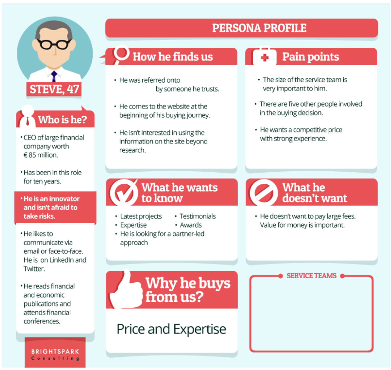 Image showing an example of a buyer persona from Brightspark.
