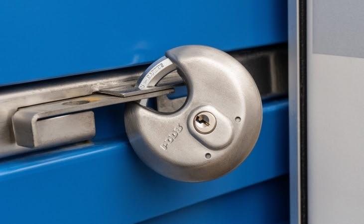Securing your belongings with a strong lock is just as important as knowing how to load a moving truck.