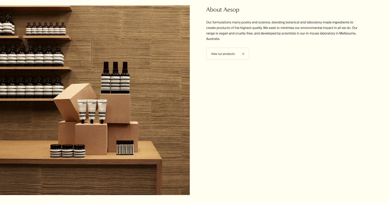 About Aesop Home Page Fold featuring product display