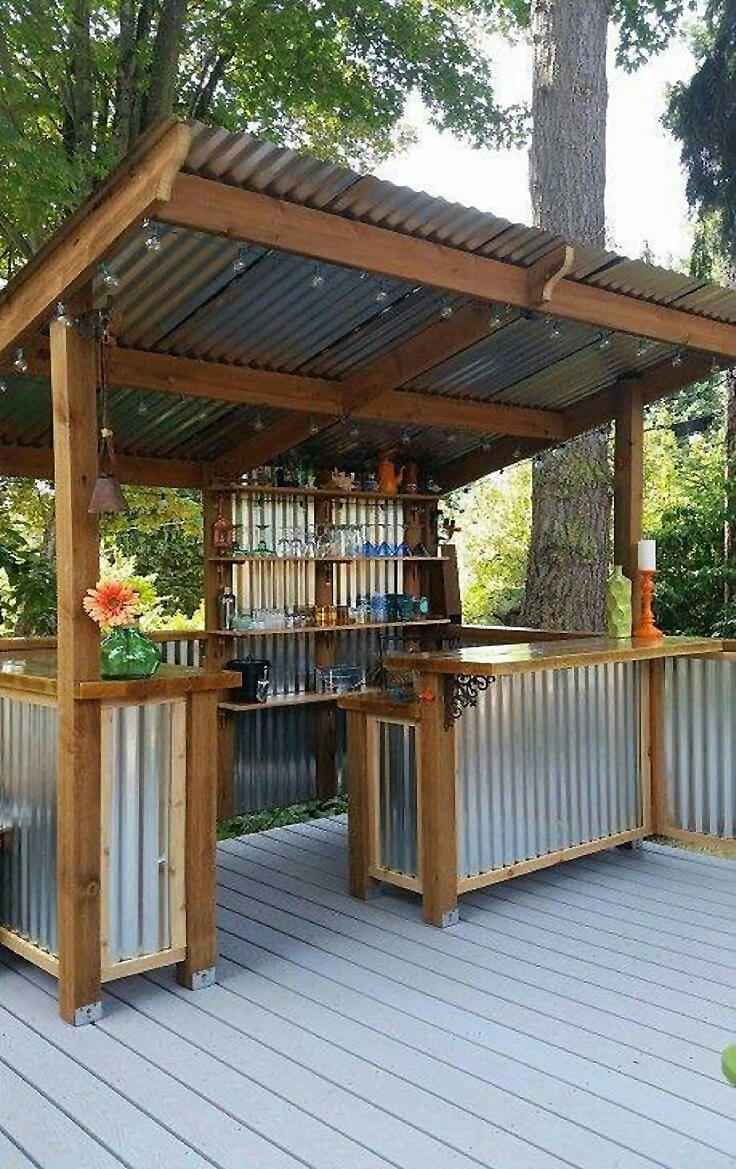 DIY Corrugated Metal Outdoor Bar and Kitchen
