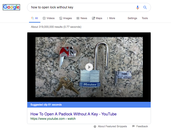 video Google SERP features