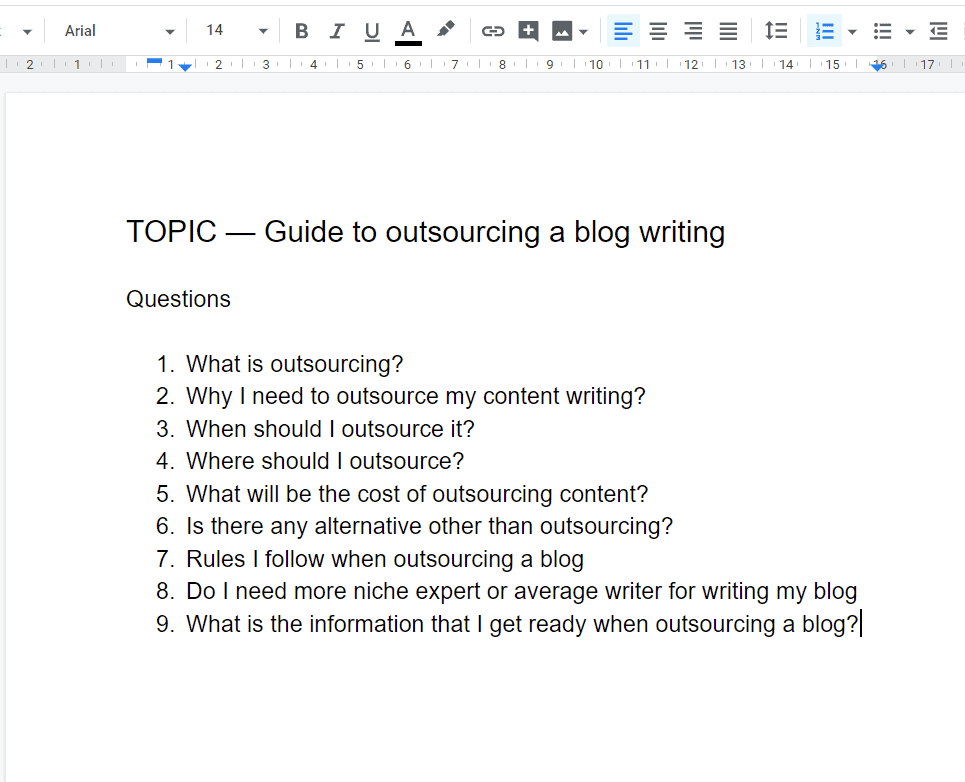 questions for blog post outline template