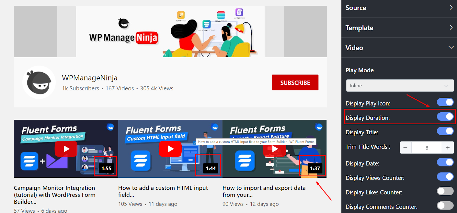 YouTube settings display duration