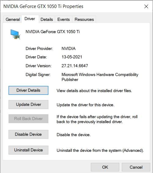 Graphics Drivers properties window