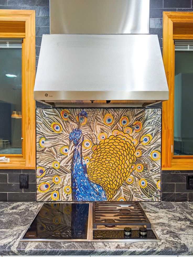 Colorful Peacock Mosaic Kitchen Tile by Mozaico