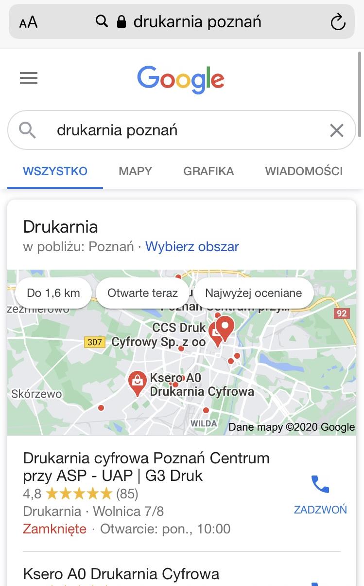 pozycjonowanie w google maps widok mobile
