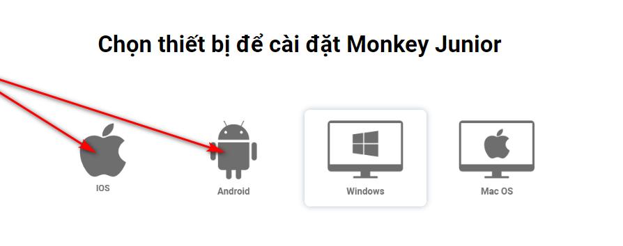 học monkey junior trên điện thoại ios, android