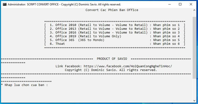 Nhấn phím số 5 để chọn phiên bản Office 365