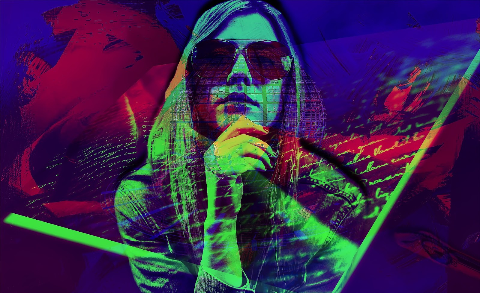 Popart mixed media art of a woman wearing sunglasses.