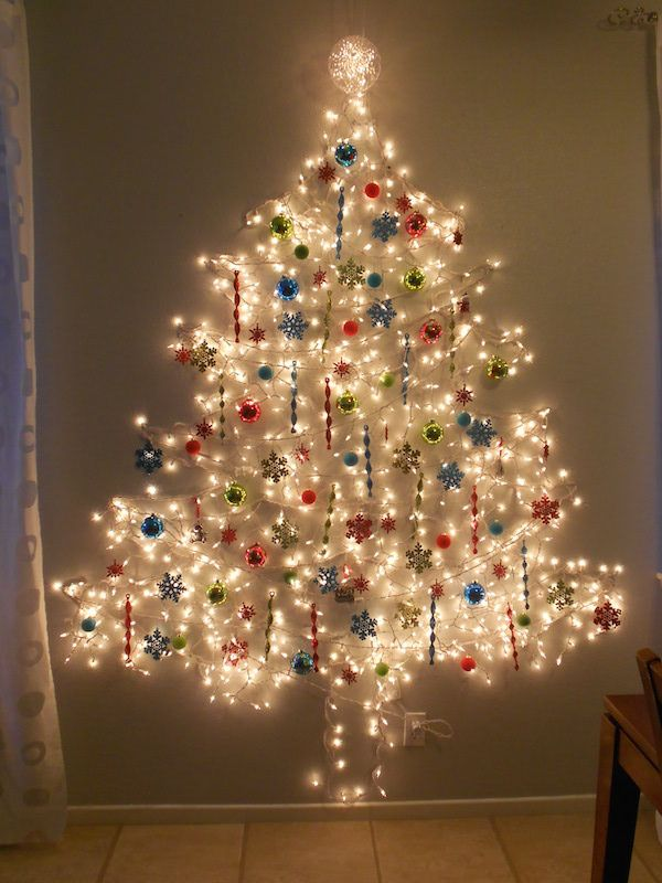 image result for christmas tree light wall