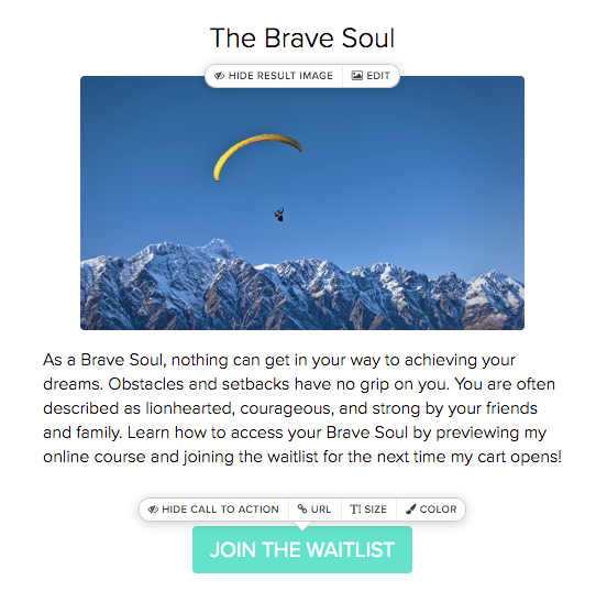 quiz result for the Brave Soul with person parachuting