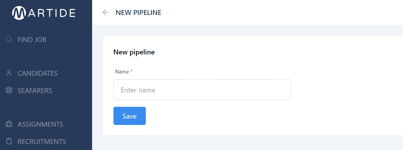 screenshot of Martide's website showing how to create a new pipeline