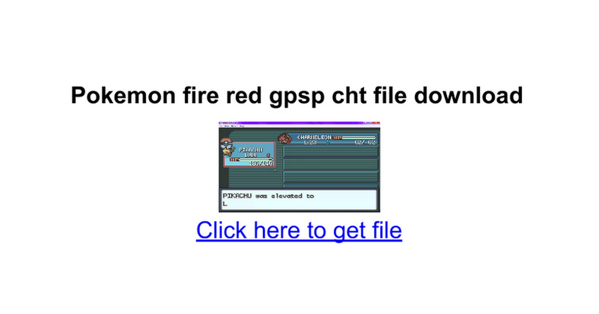 Pokemon fire red cht file gpsp kai