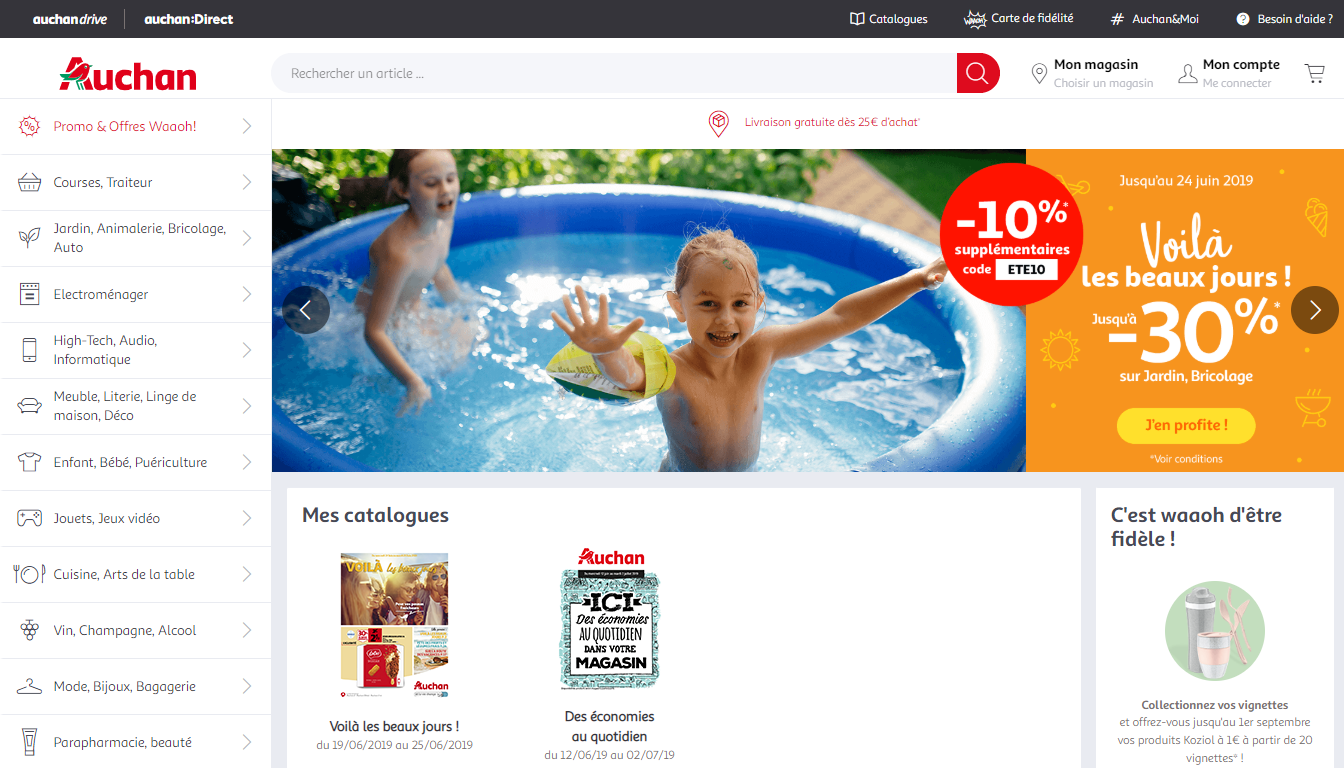 Homepage Auchan, a top marketplace to sell in France