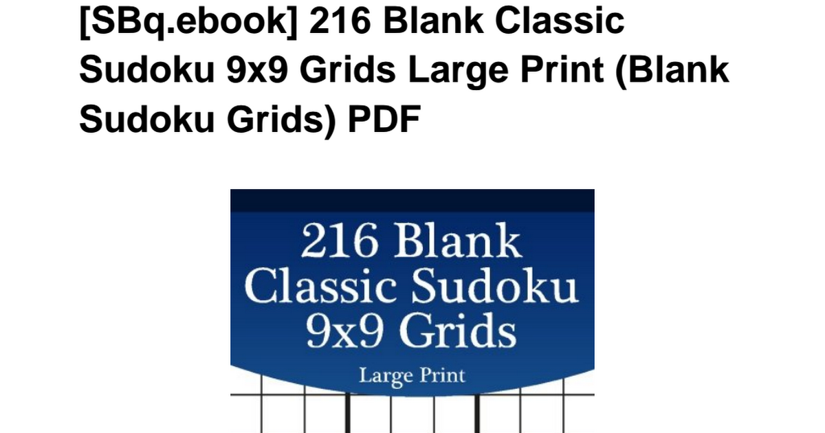 Sbq Ebook Blank Classic Sudoku Grids Large Free Download Pdf