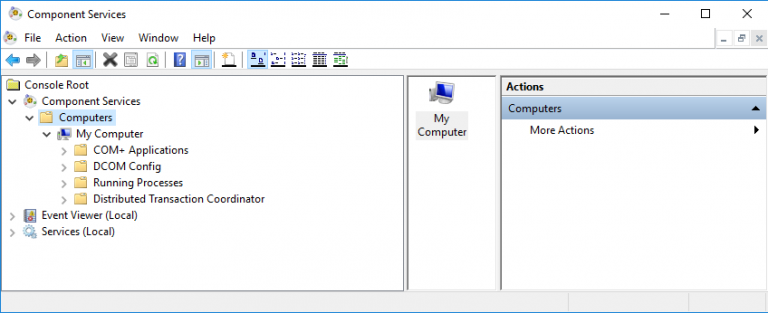 Component Services >> Computer