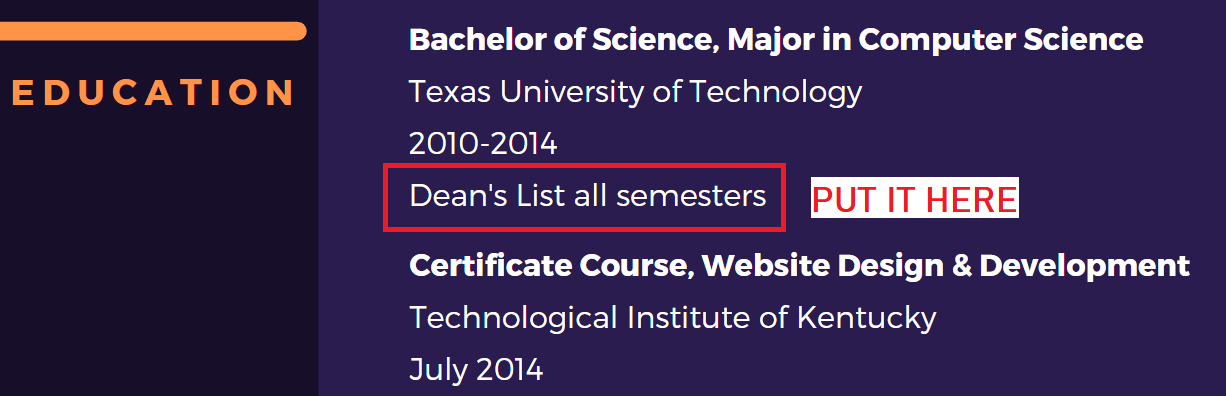 Education section at the top of the resume. The ideal placement for the Dean's List line.