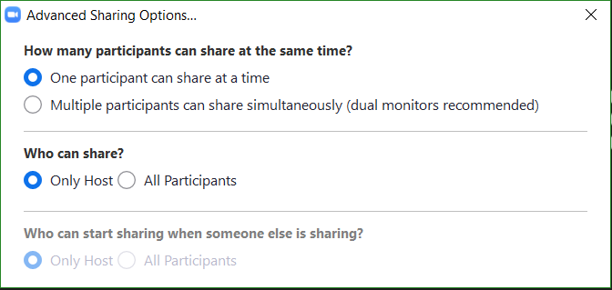 Advance Sharing Options window diplaying more detailed options on Host/Participant sharing rules.