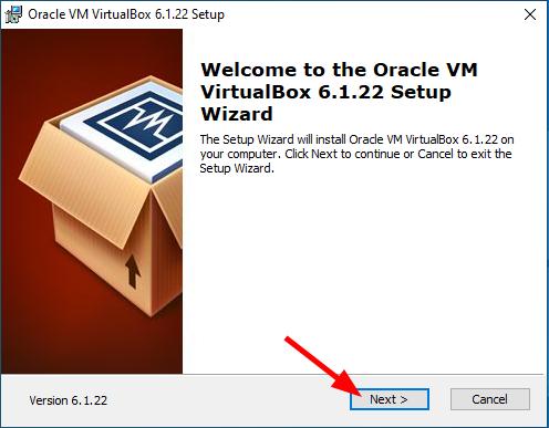 Virtual Hacking Lab - VirtualBox installation Welcome screen. Source: nudesystems.com