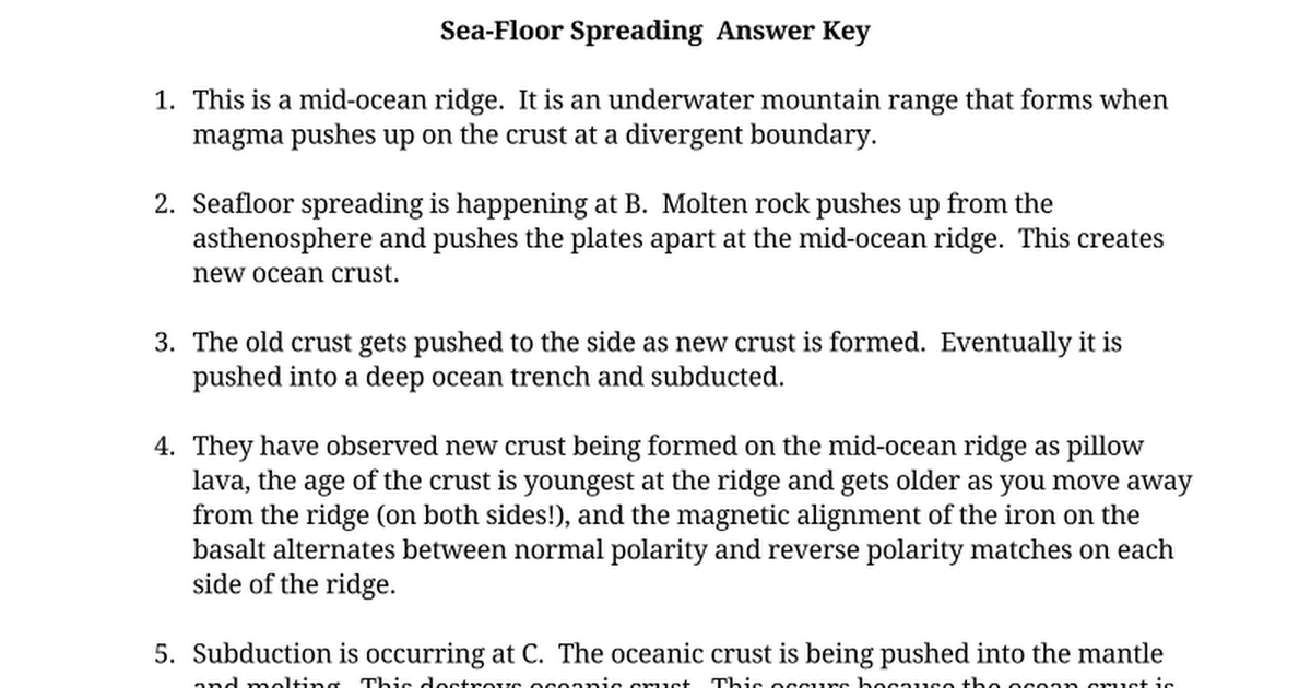 Worksheets Seafloor Spreading Worksheet seafloor spreading and plate tectonics answer key google docs