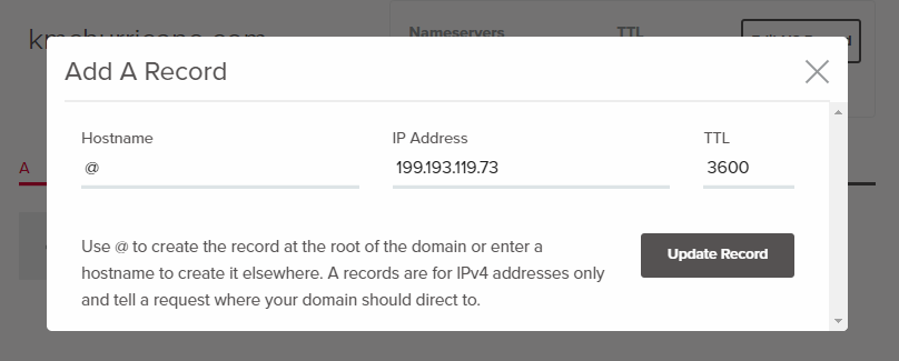 "Window sowing the ""Add A Record"" screen, with form fields for Hostname, IP Address, and TTL."