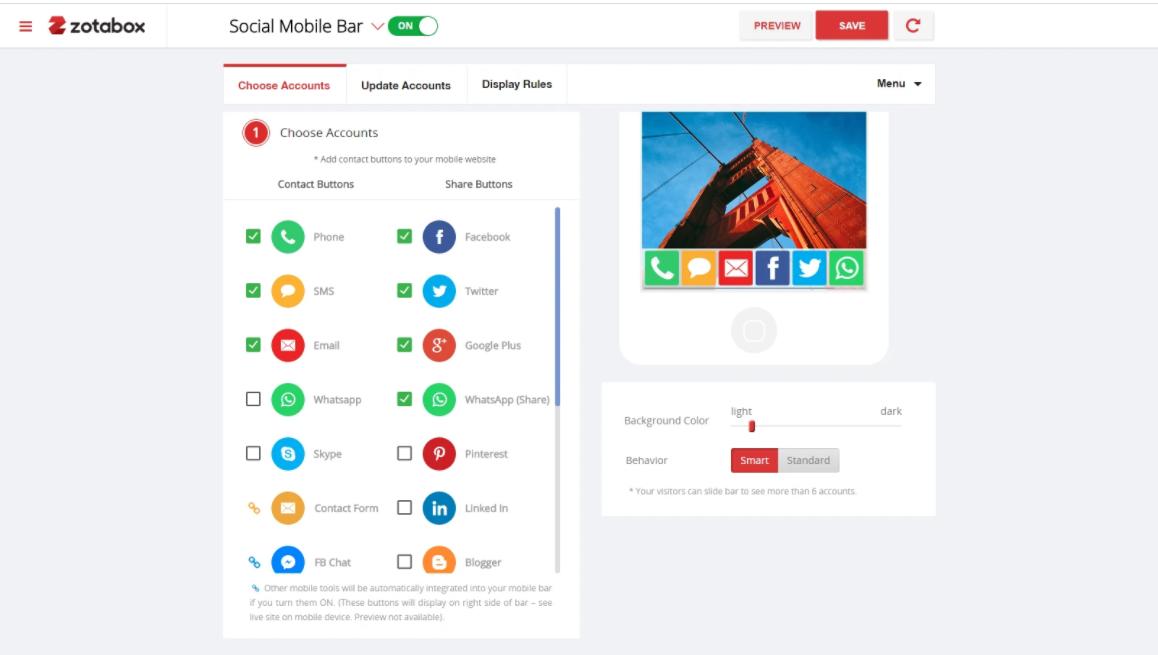 Mobile share bar