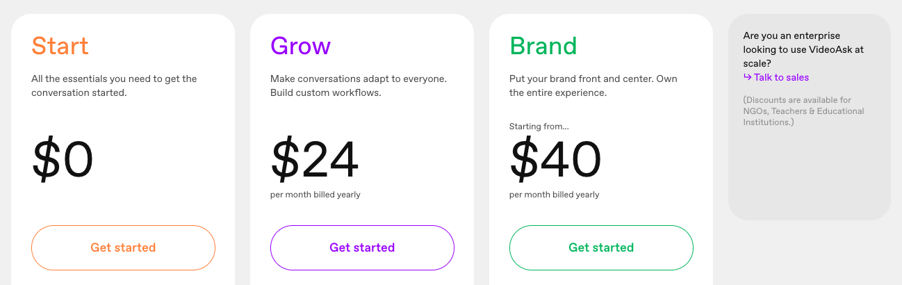 VideoAsk pricing: Start is Free, Grow is $24/month, Brand is $40/month.