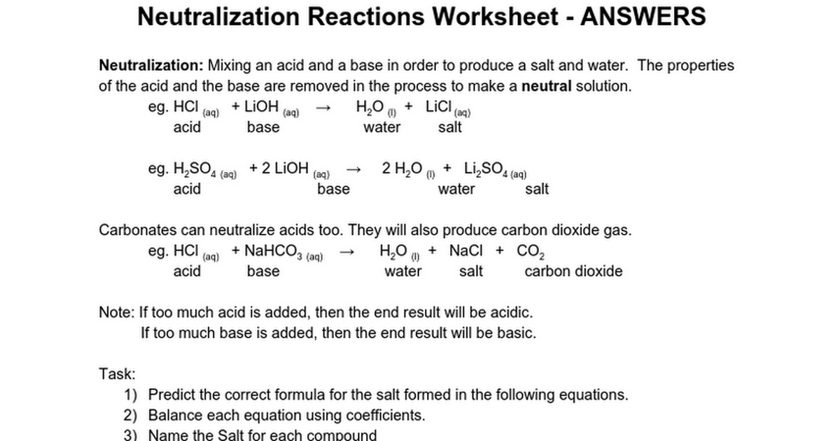 Chem15 - Neutralization and Types of Reactions Practice - ANSWERS ...