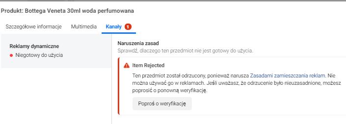 Odrzucona reklama na facebooku - komunikat (screen)