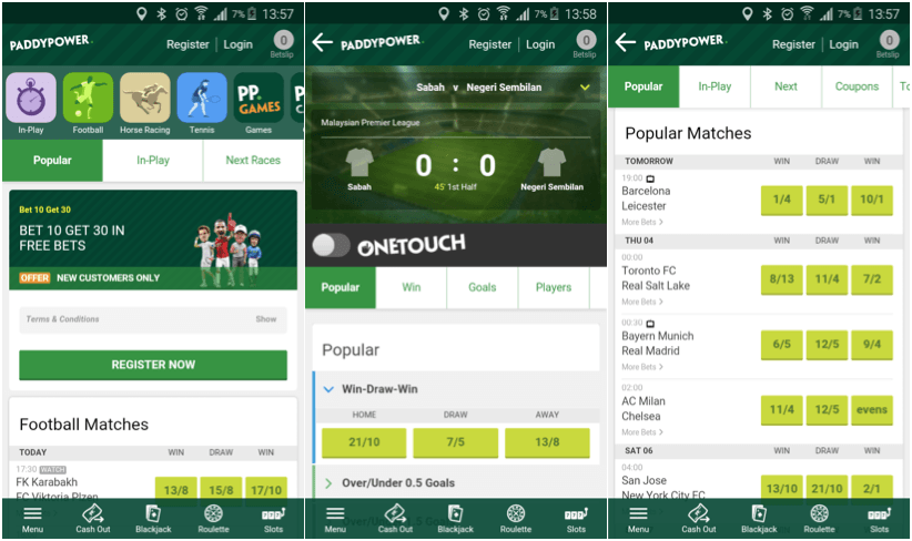 paddy power mobile app betting page