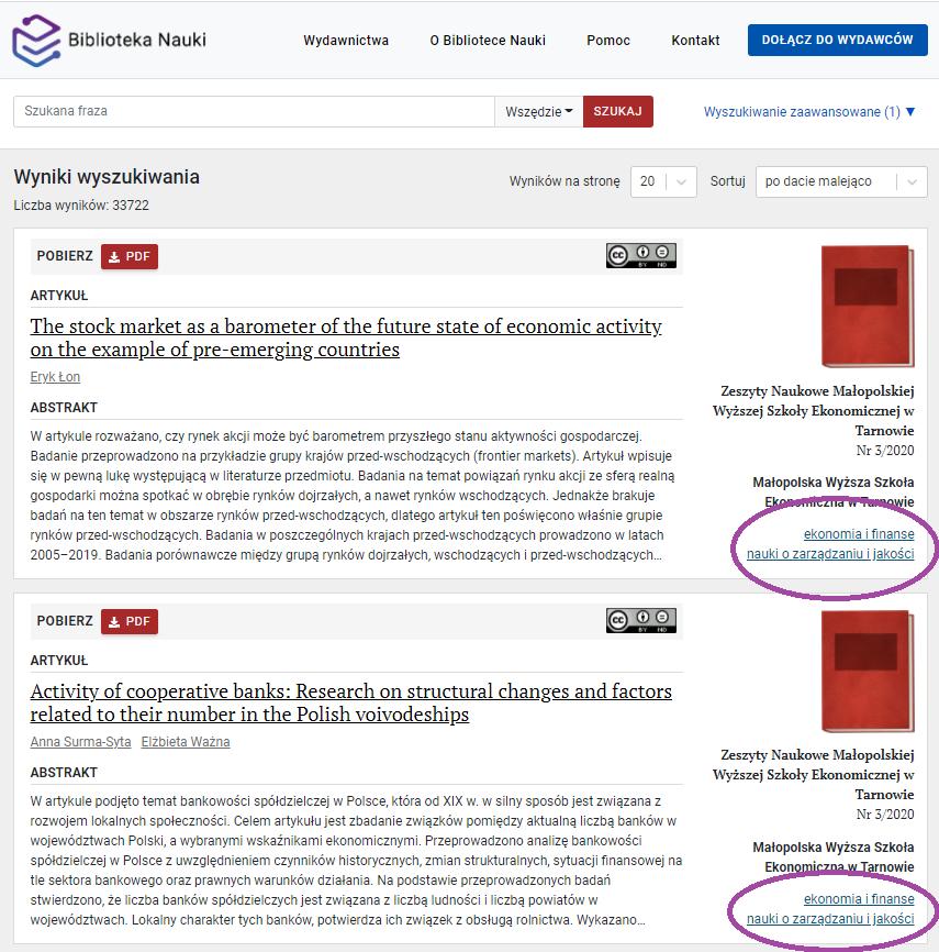 Zrzut ekranu - widok wyników wyszukiwania z zaznaczoną podpowiedzią dająca możliwość wyszukiwania zaawansowanego publikacji z ustawioną dyscypliną naukową.
