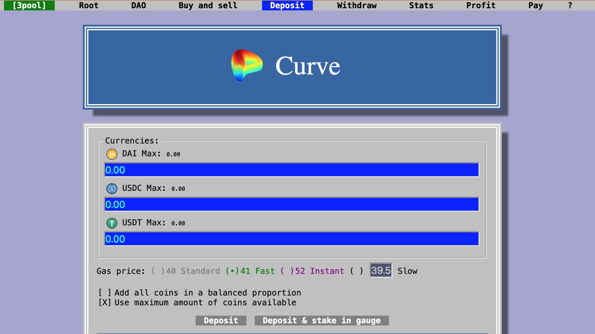 Deposit tokens on curve