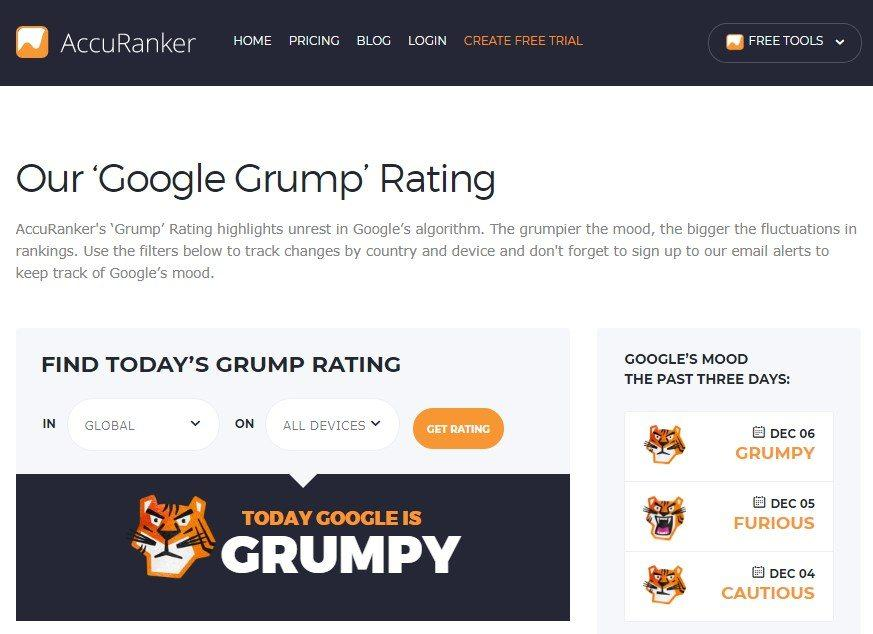 An image of the AccuRanker Google Grump Rating home page