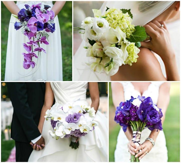 Свадебные букеты с эустомами в сочетании с другими цветами